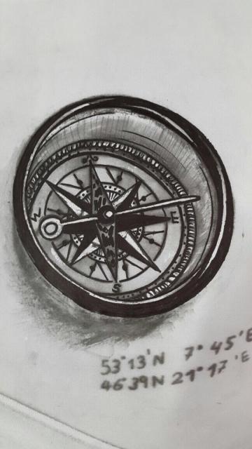 Kompass Skizze zur Ausbesserung