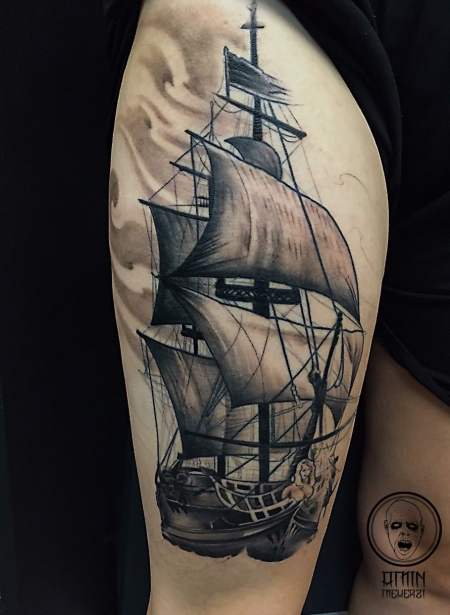 schiff-Tattoo: ship in progress...
