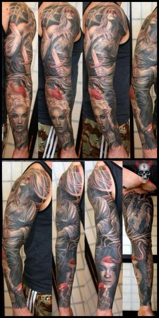 herz-Tattoo: Justitia,Eva,Barocklady,Herz