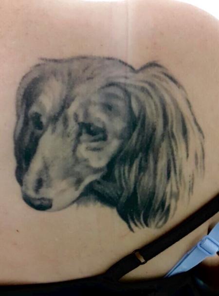 Dackel Tattoo schwarz grau