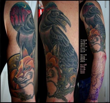 rabe-Tattoo: Fuchs und Rabe