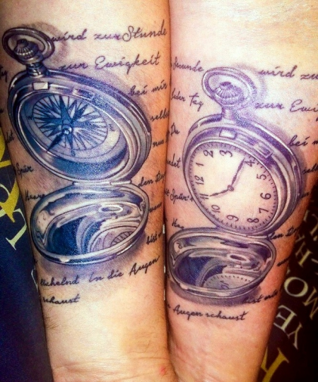 Partnertattoo Kompass + Uhr