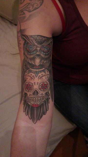mexikanischer Totenkopf mit Eule