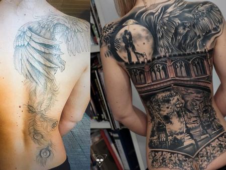 Backpiece Cover Up größtenteils verheilt - Mond, Pärchen auf Brücke schwarz weiß