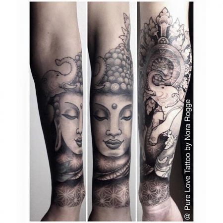 Thai Buddha Elefanten Mandala Dotwork by PURE LOVE TATTOO Nora Rogge