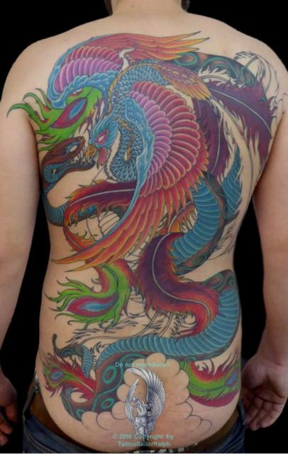schlange-Tattoo: Phoenix & Schlange