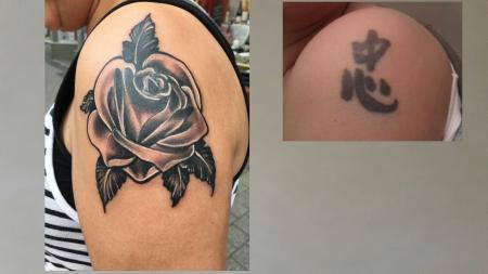 Cover up Rose vorher Schriftzeichen