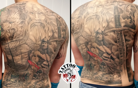 wikinger-Tattoo: Wikinger Tattoo Backpiece