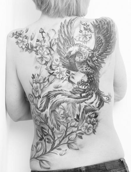 luzif228 ph nix mit bl ten cover up tattoos von. Black Bedroom Furniture Sets. Home Design Ideas