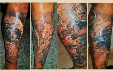 Eine Wade komplett Tattoo