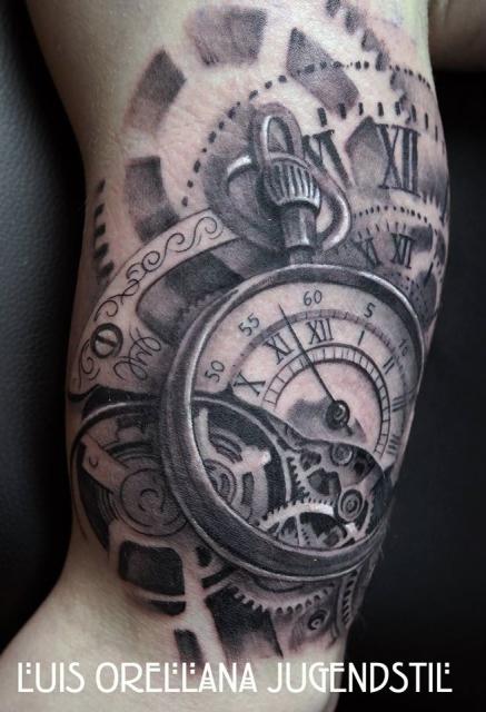 Luis orellana gears clock tattoo