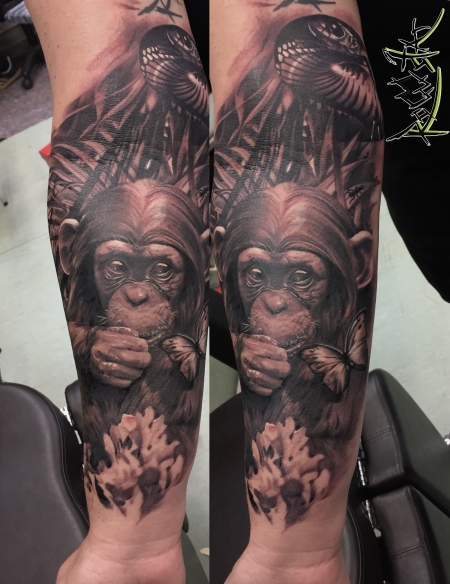 schmetterling-Tattoo: Ape