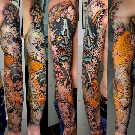 kois-Tattoo: Neo-Japanese Sleeve, Kois and Hannya Mask