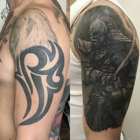 samurai-Tattoo: Tribal mit Samurai gecovert