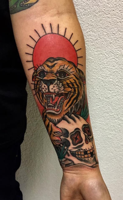 Traditional Tiger + Skull
