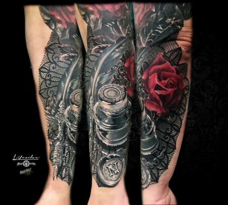 Tintenglas - Feder - Rose