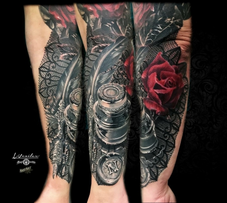 Feder-Tattoo: Tintenglas - Feder - Rose