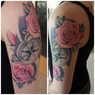 kompass-Tattoo: Kompass mit Rosen
