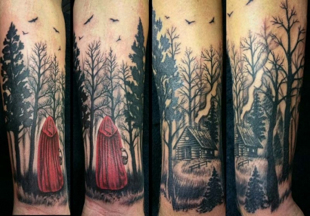 ezekiel85 red riding hood im wald tattoos von tattoo. Black Bedroom Furniture Sets. Home Design Ideas