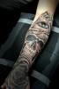 Schädel und Auge im Chicano Stil