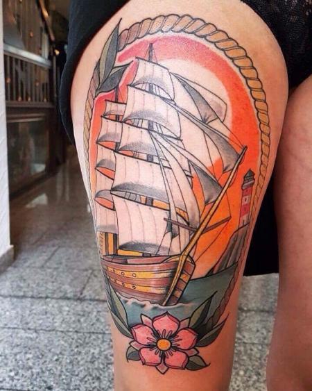 Anker-Tattoo: Schiff
