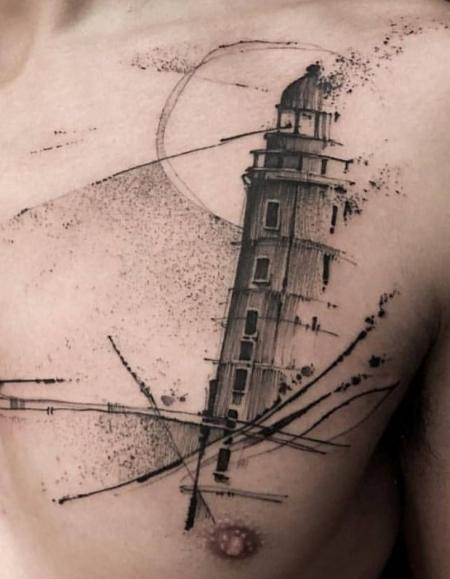 Leuchtturm Brust