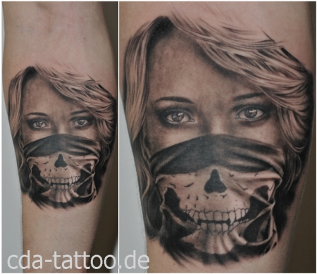 cda tattoo frau mit maske tattoos von tattoo. Black Bedroom Furniture Sets. Home Design Ideas