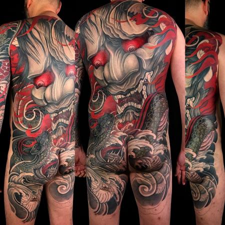 hannya-Tattoo: Hannya und Schlange