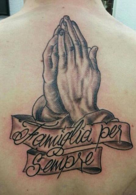 betende Hände+banner mit spruch drin