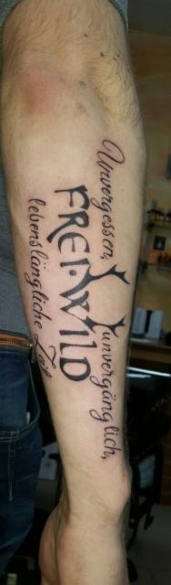 Freiwild Tattoo Lettering Tatu Lowersleeve