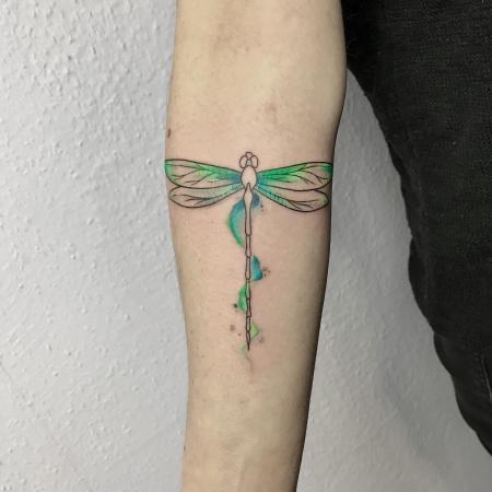 Watercolor Aquarell Libelle Tattoo