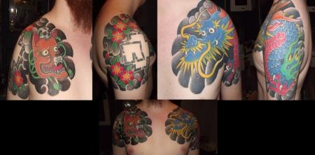 rammstein-Tattoo: Drache und Kitsune