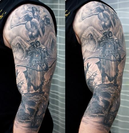sternzeichen-Tattoo: Full sleeve Schutzengel / Schütze - 3/4 fertig