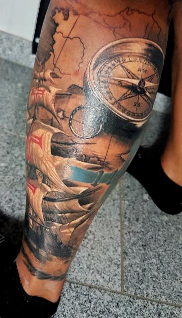 kompass-Tattoo: Kompass
