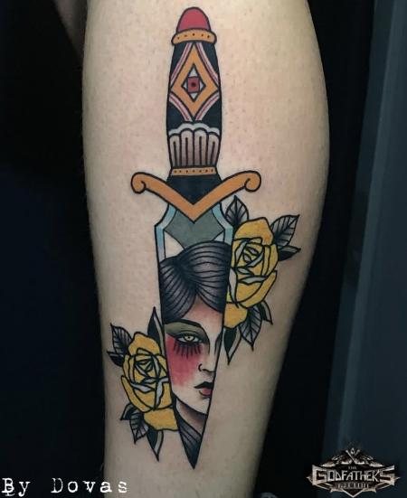 Old school dagger- Godfather's Tattoo Nürnberg - By DOVAS