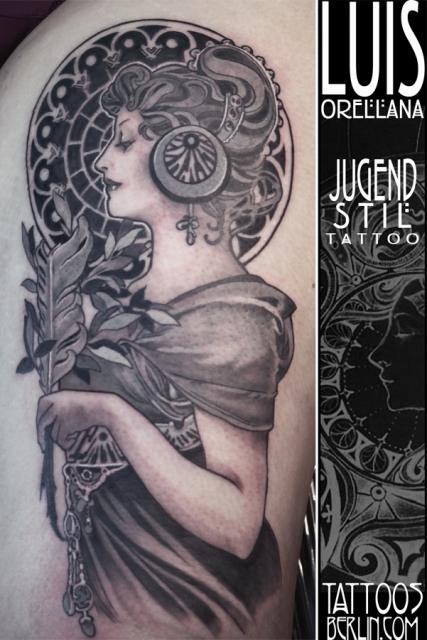 jugendstil-Tattoo: Alphonse mucha tattoo la plume art nouveau jugendstil
