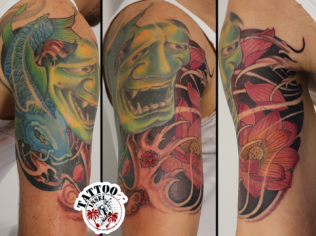 Hannya Jotus Koi Lotus Tattoo by Micha