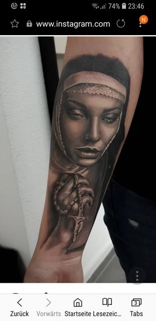 rosenkranz-Tattoo: Nonne rosenkranz