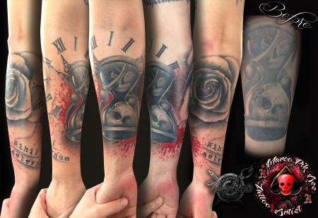 sanduhr-Tattoo: Coverup Sanduhr
