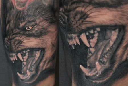 wolf-Tattoo: der böse Wolf