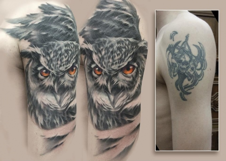 eule-Tattoo: Eule Cover-up