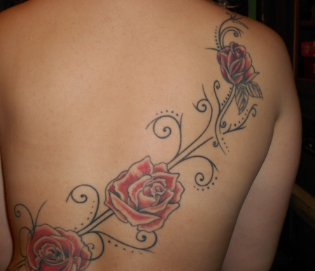 Rücken Rosen mit Ranken