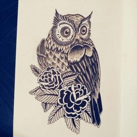 Neo trad/blackart owl