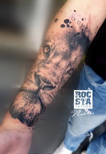 Löwe schwarz/weiß