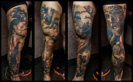 300 leg sleeve tattoo