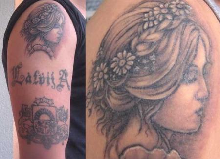 jugendstil-Tattoo: Portrait Ligo-Mädchen und Wappen Lettland