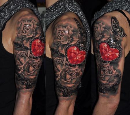 tattoocircle rosen mit diamant in herzform tattoos von. Black Bedroom Furniture Sets. Home Design Ideas