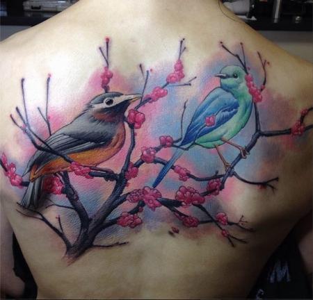 Rücken Tattoo. Eine Sitzung.