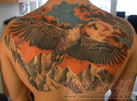 adler-Tattoo: adler über akne