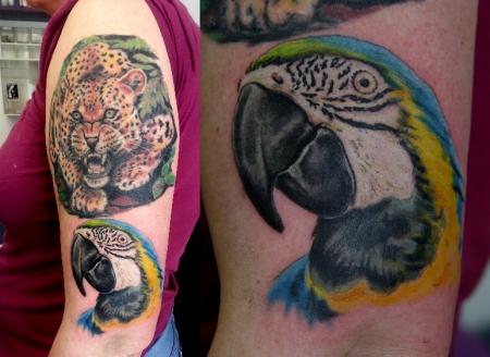 leopard-Tattoo: Der Arm füllt sich.